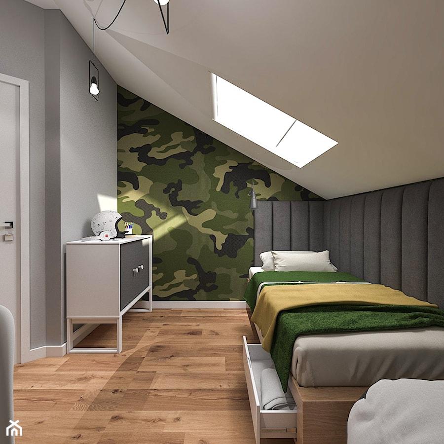 Dom pod Kaliszem   Kotowiecko   140 m2 - Mały biały szary zielony czarny pokój dziecka dla chłopca dla malucha dla nastolatka, styl nowoczesny - zdjęcie od VERY Interior Design - Projektowanie Wnętrz