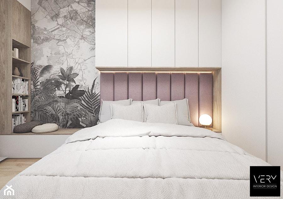 Kobiece mieszkanie w Poznaniu | Sypialnia | 60m2 - Średnia biała sypialnia małżeńska, styl nowoczesny - zdjęcie od VERY Interior Design - Projektowanie Wnętrz