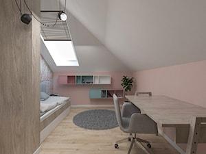Dom pod Kaliszem   Kotowiecko   140 m2 - Średni biały pastelowy różowy pokój dziecka dla dziewczynki dla nastolatka, styl nowoczesny - zdjęcie od VERY Interior Design - Projektowanie Wnętrz