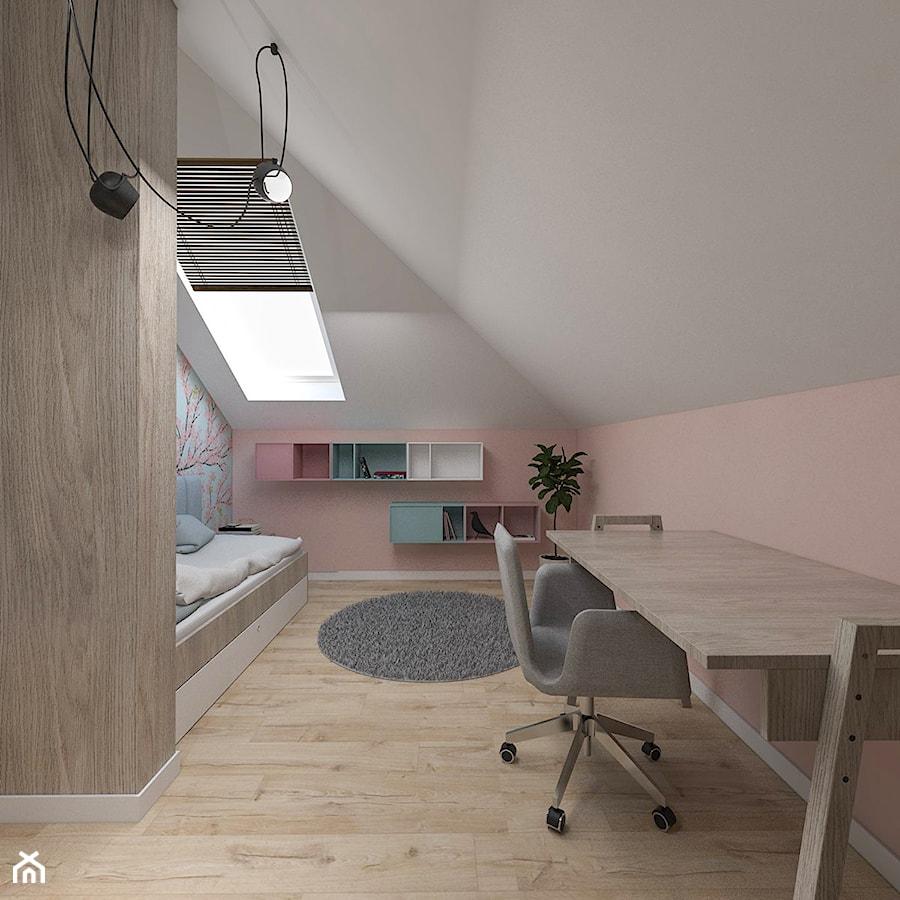 Dom pod Kaliszem | Kotowiecko | 140 m2 - Średni biały pastelowy różowy pokój dziecka dla dziewczynki dla nastolatka, styl nowoczesny - zdjęcie od VERY Interior Design - Projektowanie Wnętrz