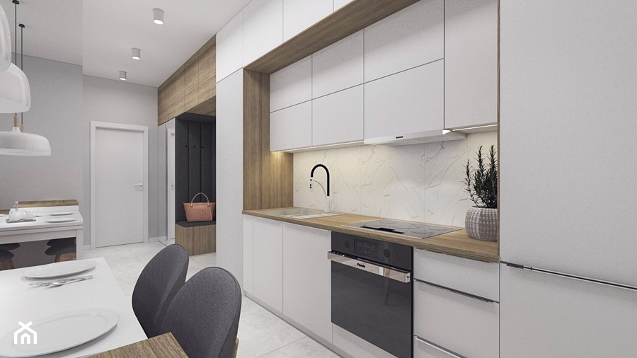 Kobiece mieszkanie w Poznaniu   Salon   60m2 - Mała otwarta biała szara kuchnia jednorzędowa, styl nowoczesny - zdjęcie od VERY Interior Design - Projektowanie Wnętrz