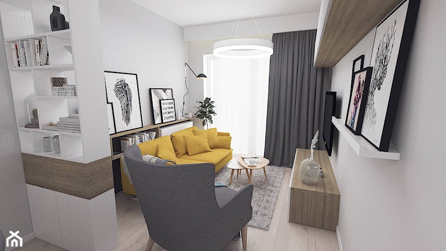 Kobiece mieszkanie w Poznaniu | Salon | 60m2 - Mały szary salon, styl nowoczesny - zdjęcie od VERY Interior Design - Projektowanie Wnętrz