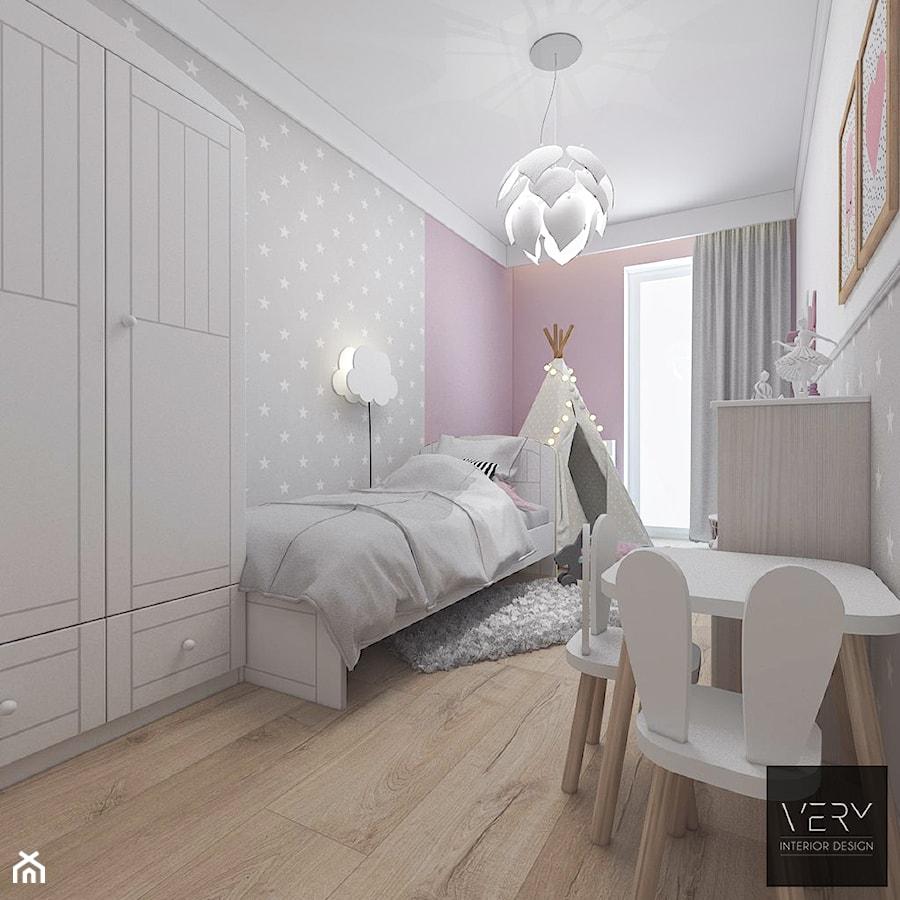 Aranżacje wnętrz - Pokój dziecka: Kobiece mieszkanie w Poznaniu | Pokój Córki | 60m2 - Mały biały szary różowy pokój dziecka dla dziewczynki dla malucha, styl nowoczesny - VERY Interior Design - Projektowanie Wnętrz. Przeglądaj, dodawaj i zapisuj najlepsze zdjęcia, pomysły i inspiracje designerskie. W bazie mamy już prawie milion fotografii!