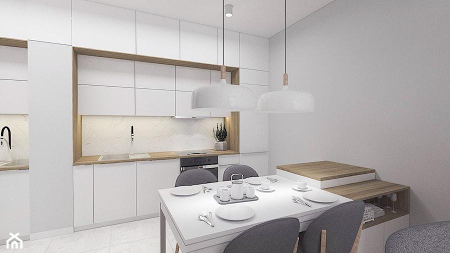 Kobiece mieszkanie w Poznaniu   Salon   60m2 - Średnia otwarta szara kuchnia jednorzędowa, styl nowoczesny - zdjęcie od VERY Interior Design - Projektowanie Wnętrz