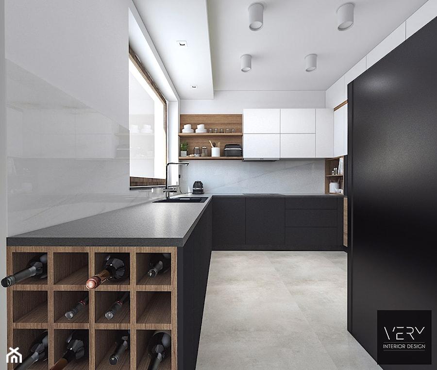 Dom pod Kaliszem   Kotowiecko   140 m2 - Duża biała kuchnia w kształcie litery u z oknem, styl nowoczesny - zdjęcie od VERY Interior Design - Projektowanie Wnętrz