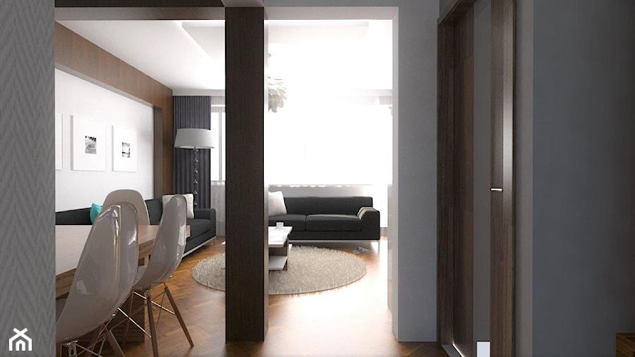 Projekt Salonu na kaliskim Zagorzynku   25 m2 - Średnia otwarta szara jadalnia w salonie, styl nowoczesny - zdjęcie od VERY Interior Design - Projektowanie Wnętrz