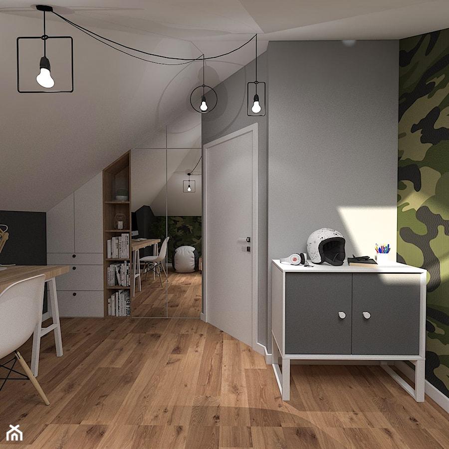 Dom pod Kaliszem   Kotowiecko   140 m2 - Średni biały szary zielony pokój dziecka dla chłopca dla ucznia dla nastolatka, styl nowoczesny - zdjęcie od VERY Interior Design - Projektowanie Wnętrz