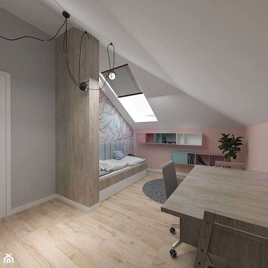 Dom pod Kaliszem   Kotowiecko   140 m2 - Średni biały różowy niebieski pokój dziecka dla dziewczynki dla ucznia dla nastolatka, styl nowoczesny - zdjęcie od VERY Interior Design - Projektowanie Wnętrz
