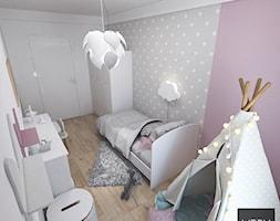 Kobiece mieszkanie w Poznaniu | Pokój Córki | 60m2 - Mały szary różowy pokój dziecka dla dziewczynki dla malucha, styl nowoczesny - zdjęcie od VERY Interior Design - Projektowanie Wnętrz