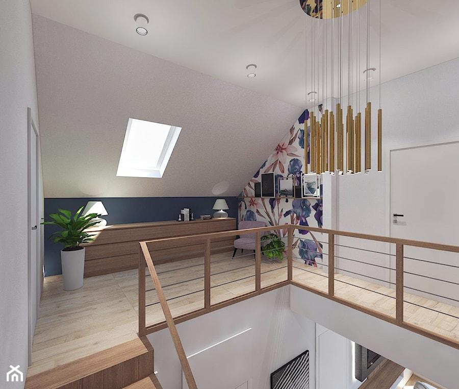 Dom pod Kaliszem   Kotowiecko   140 m2 - Duży biały niebieski hol / przedpokój, styl nowoczesny - zdjęcie od VERY Interior Design - Projektowanie Wnętrz