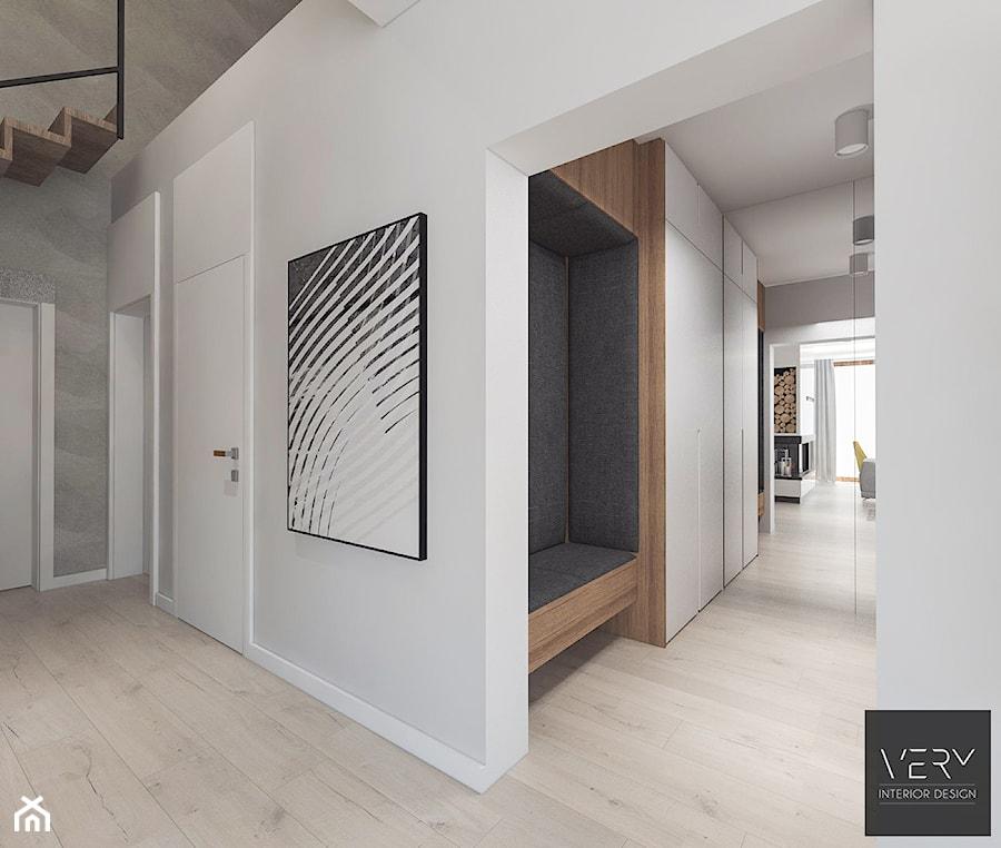 Dom pod Kaliszem | Kotowiecko | 140 m2 - Duży biały szary hol / przedpokój, styl nowoczesny - zdjęcie od VERY Interior Design - Projektowanie Wnętrz