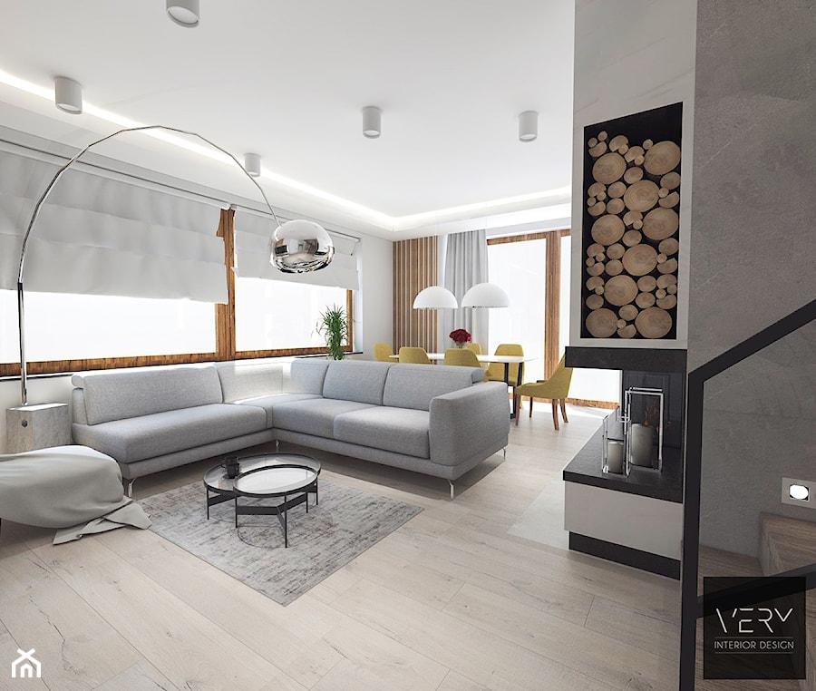 Dom pod Kaliszem | Kotowiecko | 140 m2 - Duży szary biały salon z jadalnią, styl nowoczesny - zdjęcie od VERY Interior Design - Projektowanie Wnętrz