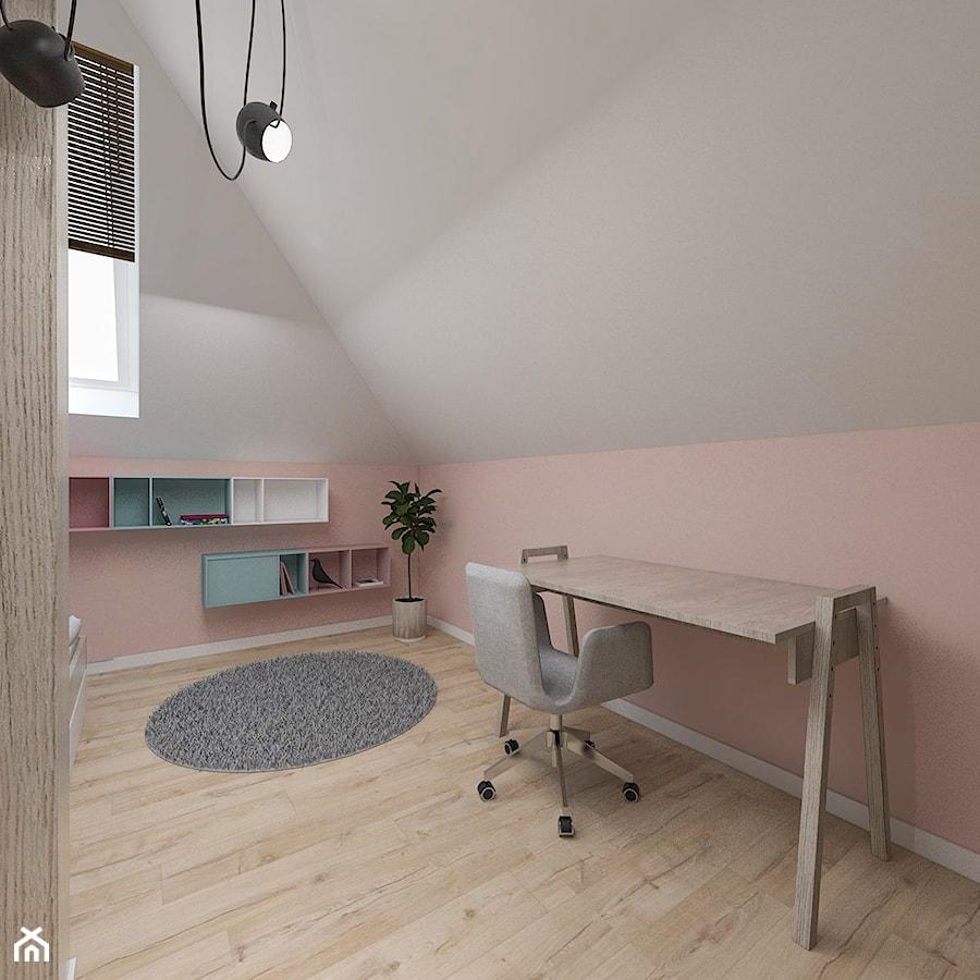 Dom pod Kaliszem | Kotowiecko | 140 m2 - Mały biały pastelowy różowy pokój dziecka dla dziewczynki dla ucznia dla nastolatka, styl nowoczesny - zdjęcie od VERY Interior Design - Projektowanie Wnętrz