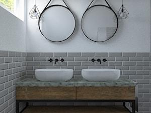 Łazienka na poddaszu - Duża biała szara łazienka w domu jednorodzinnym z oknem, styl eklektyczny - zdjęcie od BIUROMETRY Szczecin architektura i wnętrza