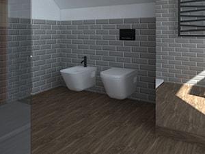 Łazienka na poddaszu - Duża biała szara łazienka na poddaszu w domu jednorodzinnym z oknem, styl eklektyczny - zdjęcie od BIUROMETRY Szczecin architektura i wnętrza
