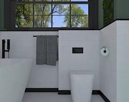 Mała biała zielona łazienka w bloku w domu jednorodzinnym z oknem, styl nowojorski - zdjęcie od BIUROMETRY Szczecin architektura i wnętrza