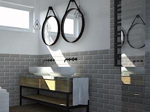 Łazienka na poddaszu - Średnia biała szara łazienka w bloku w domu jednorodzinnym z oknem, styl eklektyczny - zdjęcie od BIUROMETRY Szczecin architektura i wnętrza