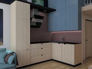 Mini Mieszkanie dla Singielki - Mała otwarta fioletowa kuchnia w kształcie litery l w aneksie, styl nowoczesny - zdjęcie od BIUROMETRY Szczecin architektura i wnętrza