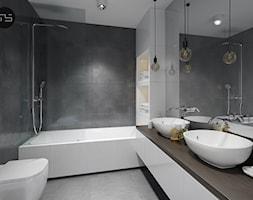 Mieszkanie M3 - Średnia czarna szara łazienka w bloku bez okna, styl minimalistyczny - zdjęcie od MS Group