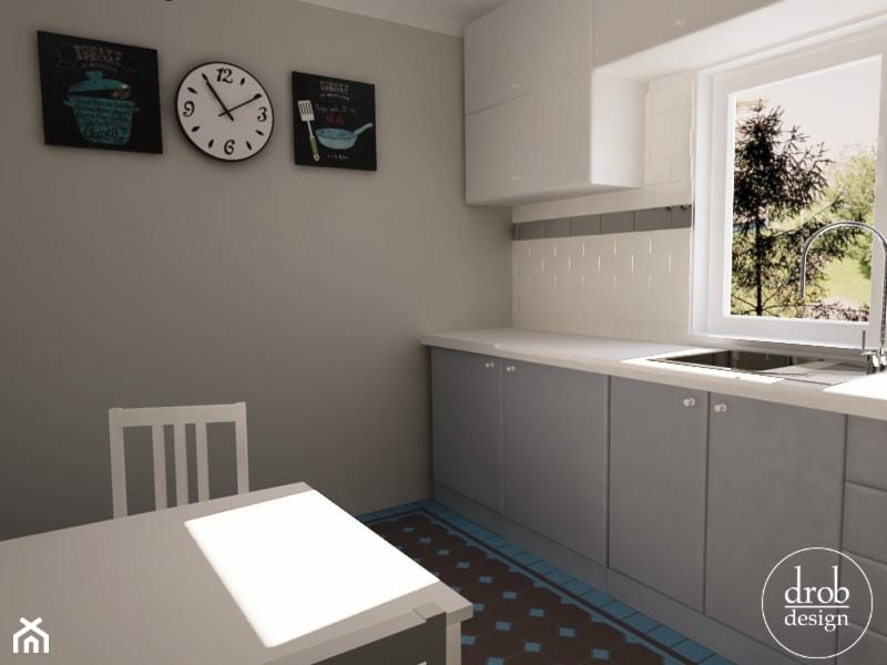 Biało szara kuchnia z kamionkową podłogą  zdjęcie od Drob   -> Kuchnia Szara Galeria