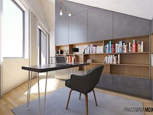 Wnętrza domu w Łodygowicach - Średnie beżowe biuro kącik do pracy na poddaszu, styl minimalistyczny - zdjęcie od MOJO pracownia projektowa