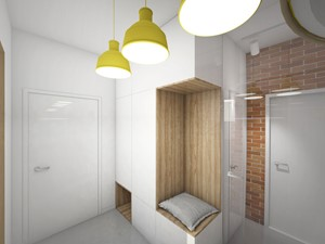 Wnętrza domu jednorodzinnego w Brzozowie - Mały brązowy hol / przedpokój, styl minimalistyczny - zdjęcie od MOJO pracownia projektowa
