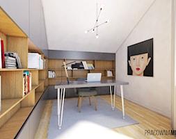 Wnętrza domu w Łodygowicach - Średnie białe biuro domowe na poddaszu, styl minimalistyczny - zdjęcie od MOJO pracownia projektowa