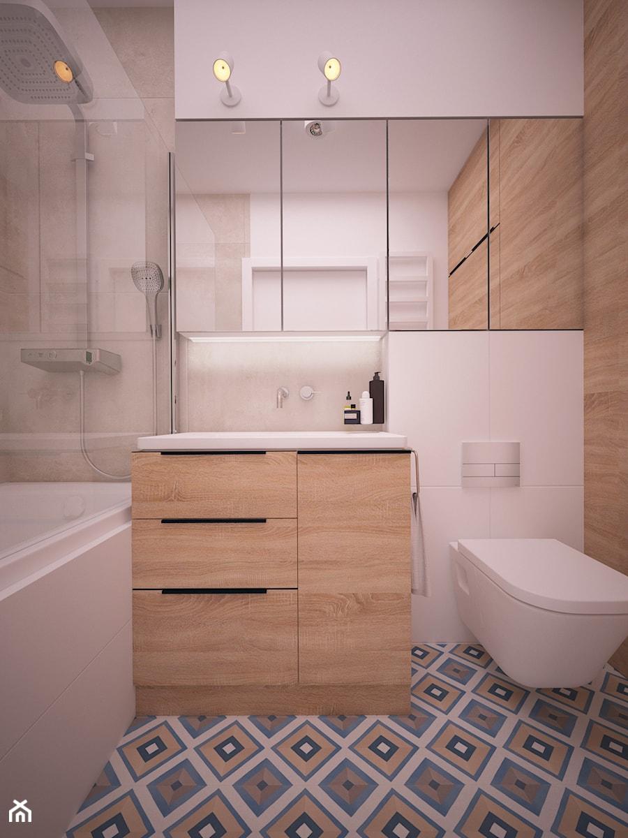 Mieszkanie na warszawskim Bemowie - Mała łazienka w bloku w domu jednorodzinnym bez okna, styl skandynawski - zdjęcie od Ai Pracownia Projektowa