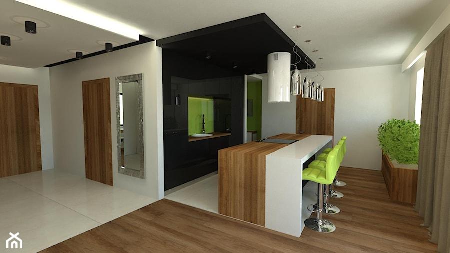 Osiedle w Kutnie - Średnia biała zielona kuchnia jednorzędowa w aneksie z wyspą, styl nowoczesny - zdjęcie od Arthome