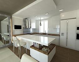 Kuchnie - Duża otwarta kuchnia w kształcie litery u w kształcie litery g z wyspą, styl minimalistyc ... - zdjęcie od Arthome - Homebook