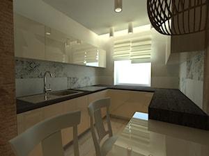 Kuchnie - Mała zamknięta wąska beżowa kolorowa kuchnia w kształcie litery u, styl nowoczesny - zdjęcie od Arthome
