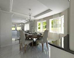 """cz.1 """"Chłodna rezydencja"""" - Duża otwarta szara kuchnia w kształcie litery l z oknem - zdjęcie od Art&Design Kinga Śliwa"""
