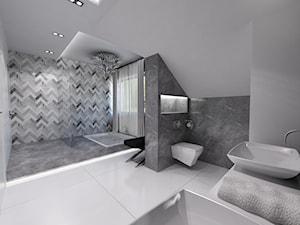 Domowe SPA - Duża czarna szara łazienka na poddaszu w domu jednorodzinnym z oknem - zdjęcie od Art&Design Kinga Śliwa