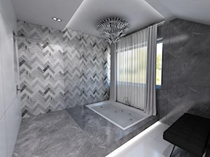 Domowe SPA - Średnia czarna szara łazienka na poddaszu w domu jednorodzinnym z oknem - zdjęcie od Art&Design Kinga Śliwa
