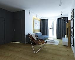 Średni szary biały salon z tarasem / balkonem, styl nowoczesny - zdjęcie od Fusion Design