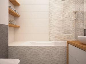Średnia biała czarna łazienka na poddaszu w bloku w domu jednorodzinnym bez okna, styl nowoczesny - zdjęcie od Mood-LAB