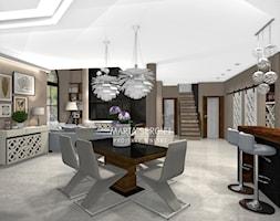 dom pod Wrocławiem - Średnia otwarta beżowa jadalnia w kuchni w salonie, styl nowoczesny - zdjęcie od msergiej-wnętrza