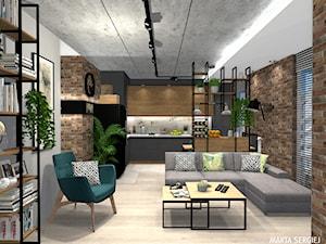 mieszkanie we Wrocławiu - Średni szary brązowy salon z kuchnią, styl industrialny - zdjęcie od msergiej-wnętrza