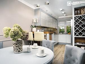 dom we Wrocławiu - Średnia otwarta wąska szara kuchnia w kształcie litery u w aneksie z oknem, styl klasyczny - zdjęcie od msergiej-wnętrza