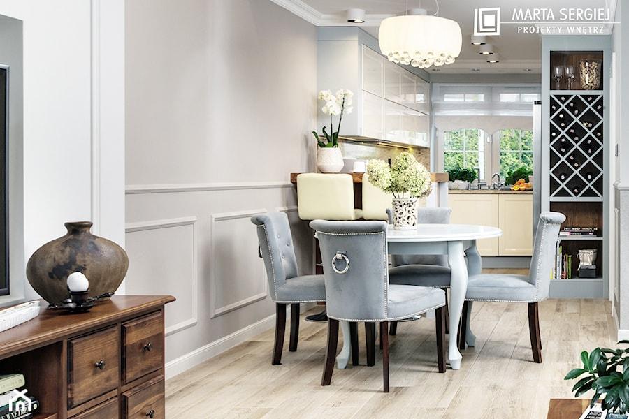 Aranżacje wnętrz - Jadalnia: Mała otwarta szara jadalnia w kuchni w salonie, styl klasyczny - msergiej-wnętrza. Przeglądaj, dodawaj i zapisuj najlepsze zdjęcia, pomysły i inspiracje designerskie. W bazie mamy już prawie milion fotografii!