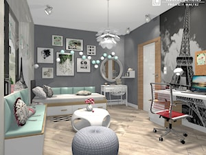 dom w Namysłowie 3 - Średni szary pokój dziecka dla chłopca dla dziewczynki dla ucznia dla nastolatka, styl nowoczesny - zdjęcie od msergiej-wnętrza
