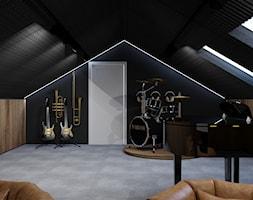 Projekt salonu muzycznego na poddaszu w domu jednorodzinnym w Bielsku-Białej. - zdjęcie od Architekt Wnętrz Patrycja Wojtaś - Homebook