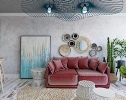 """Apartament hotelowy """"Summer Vibes"""" - Średni salon z kuchnią z jadalnią z tarasem / balkonem, styl rustykalny - zdjęcie od Architekt Wnętrz Patrycja Wojtaś"""