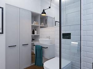 Dom w Czechowicach Dziedzicach - Mała biała łazienka na poddaszu w bloku w domu jednorodzinnym bez okna, styl klasyczny - zdjęcie od Architekt Wnętrz Patrycja Wojtaś