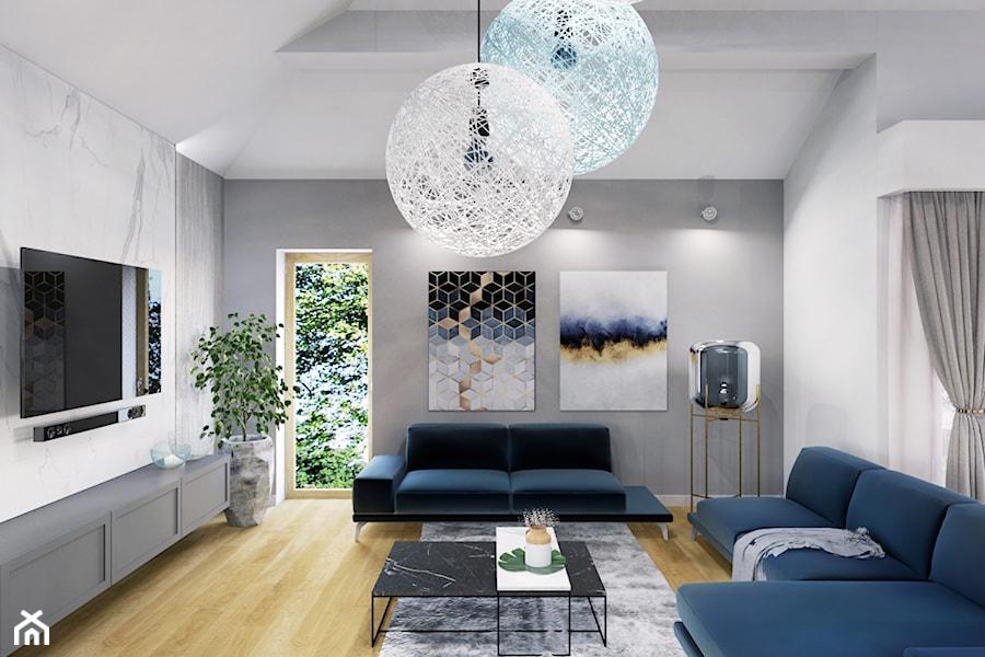 Projekt salonu z jadalnią w domu jednorodzinnym w Bielsku-Białej - zdjęcie od Architekt Wnętrz Patrycja Wojtaś