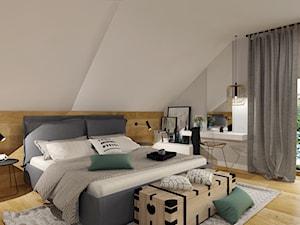 Dom w Kętrzynie - Średnia szara sypialnia małżeńska na poddaszu, styl skandynawski - zdjęcie od Architekt Wnętrz Patrycja Wojtaś