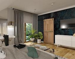 Dom w Kętrzynie - Duża szara niebieska sypialnia dla gości na poddaszu, styl industrialny - zdjęcie od Architekt Wnętrz Patrycja Wojtaś