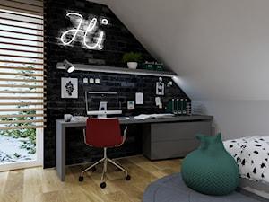 Dom w Bielsku-Białej II - Mały biały szary czarny pokój dziecka dla chłopca dla dziewczynki dla ucznia dla nastolatka, styl nowoczesny - zdjęcie od Architekt Wnętrz Patrycja Wojtaś