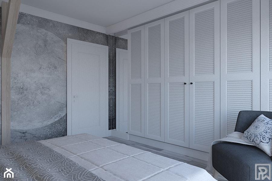 Dom w Czechowicach Dziedzicach - Mała szara sypialnia małżeńska, styl skandynawski - zdjęcie od Architekt Wnętrz Patrycja Wojtaś