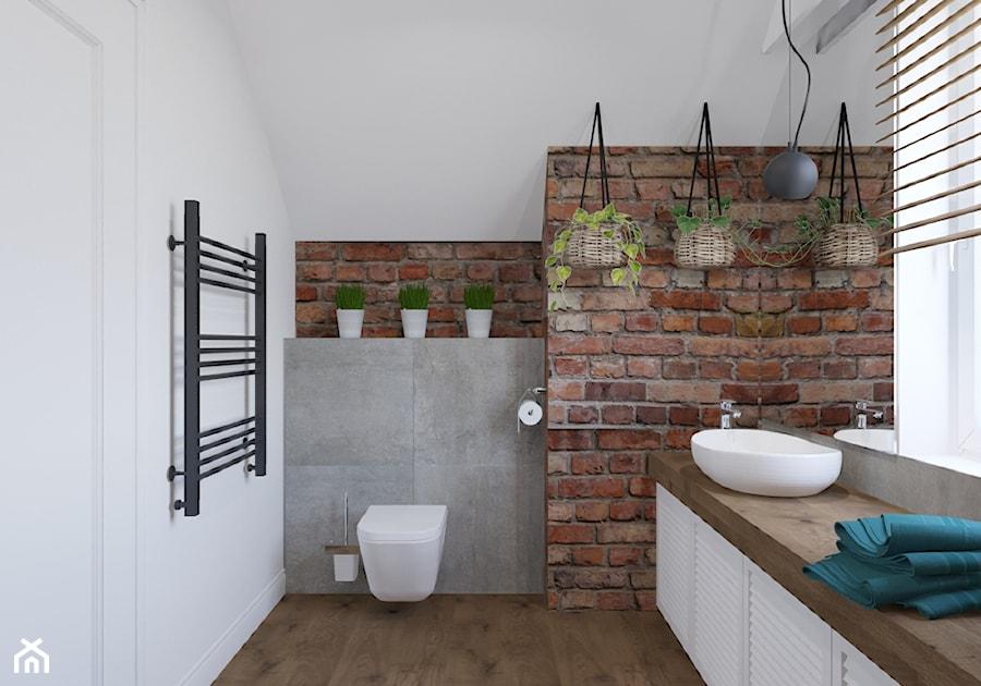 Dom w Czechowicach Dziedzicach - Średnia biała łazienka na poddaszu, styl rustykalny - zdjęcie od Architekt Wnętrz Patrycja Wojtaś